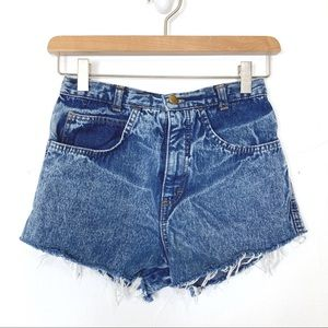Vintage high waisted acid wash jean shorts cutoff